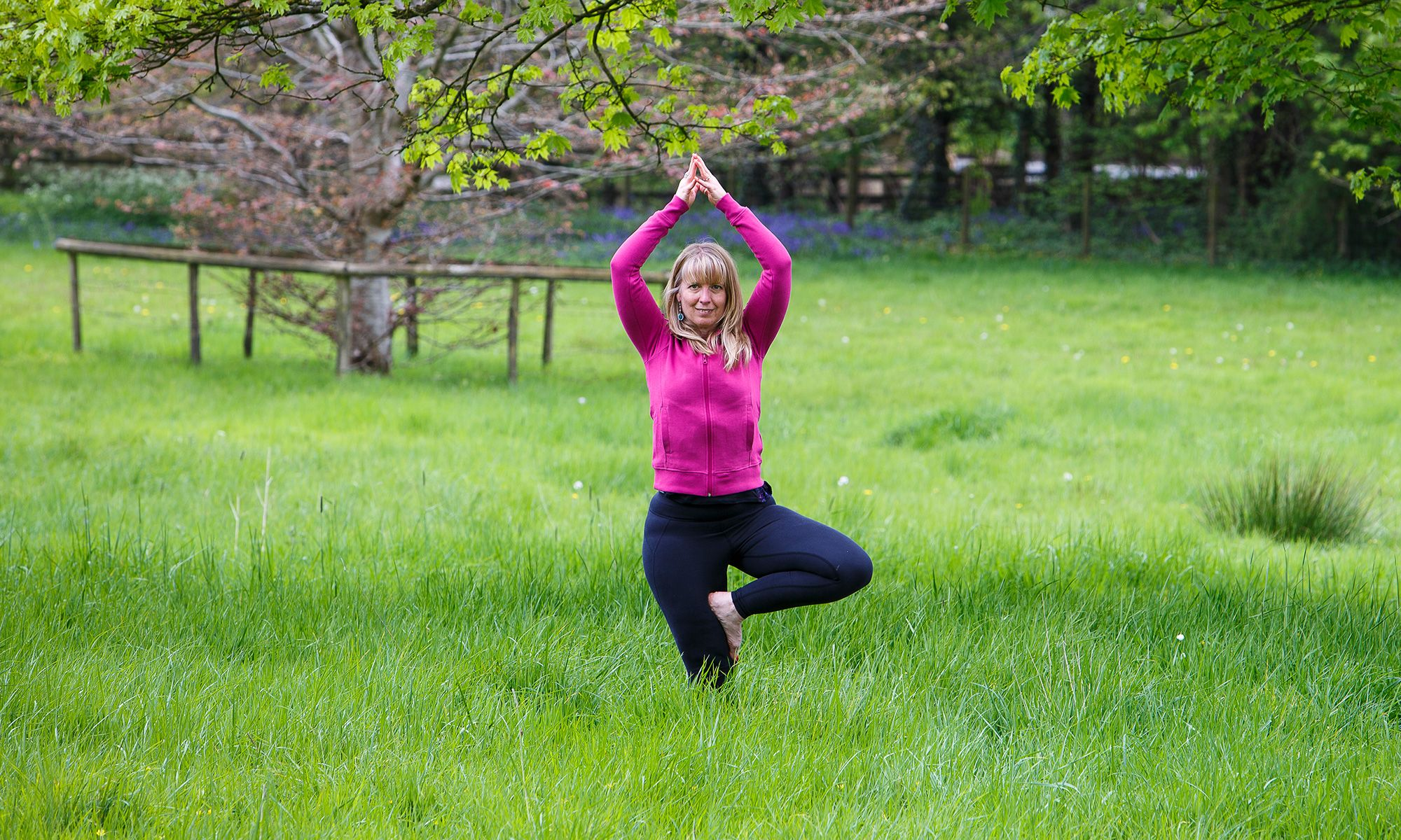 Zoga Yoga - Tree pose amongst the trees and bluebells
